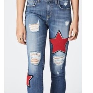 2018 Carmar Red Hot Star Patch Jeans Sz26 NWT